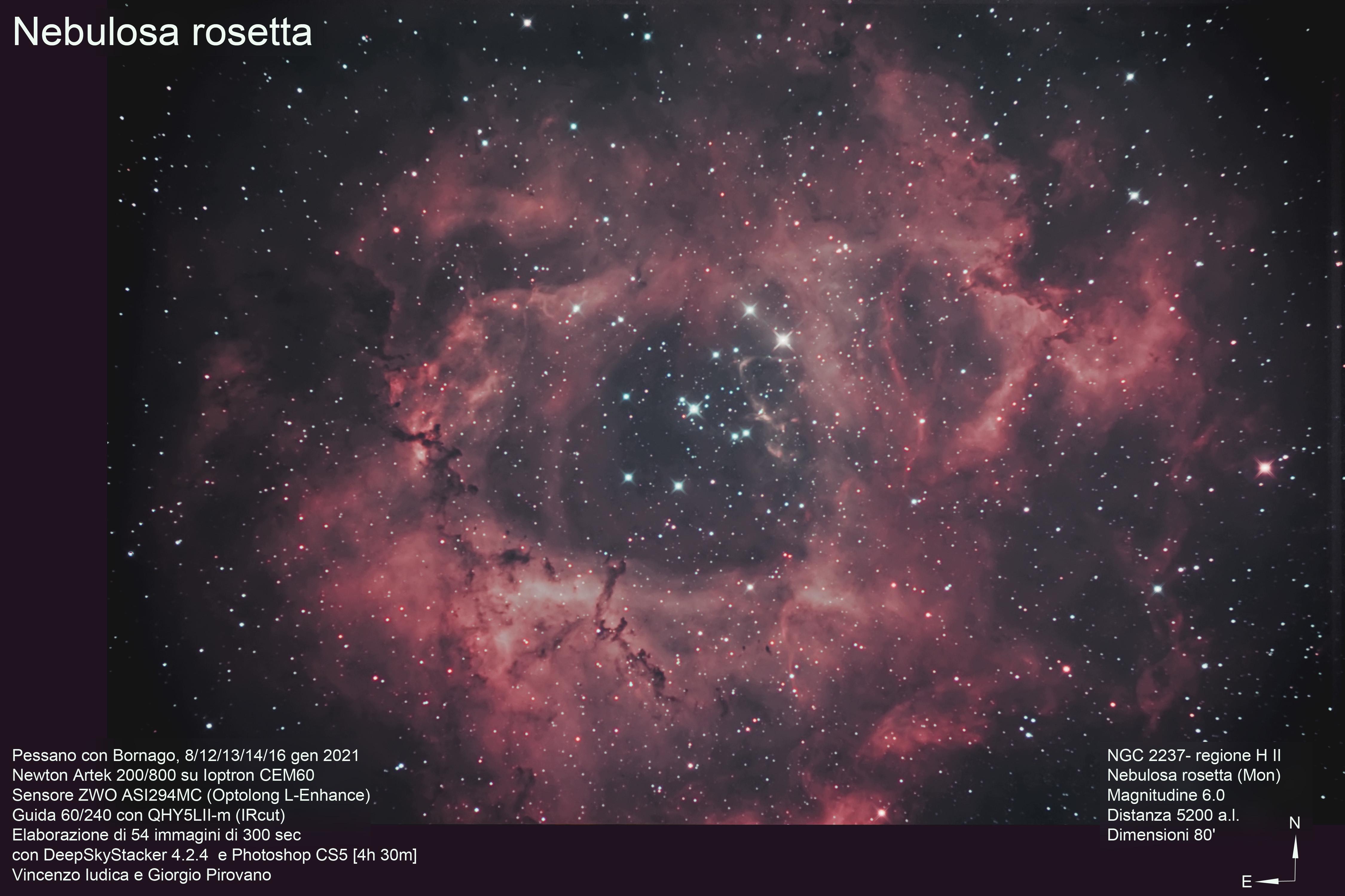 <p>La Nebulosa Rosetta è un'ampia regione H II di forma rozzamente circolare situata ai confini di una nebulosa molecolare gigante, nella costellazione dell'Unicorno (Wikipedia).</p>