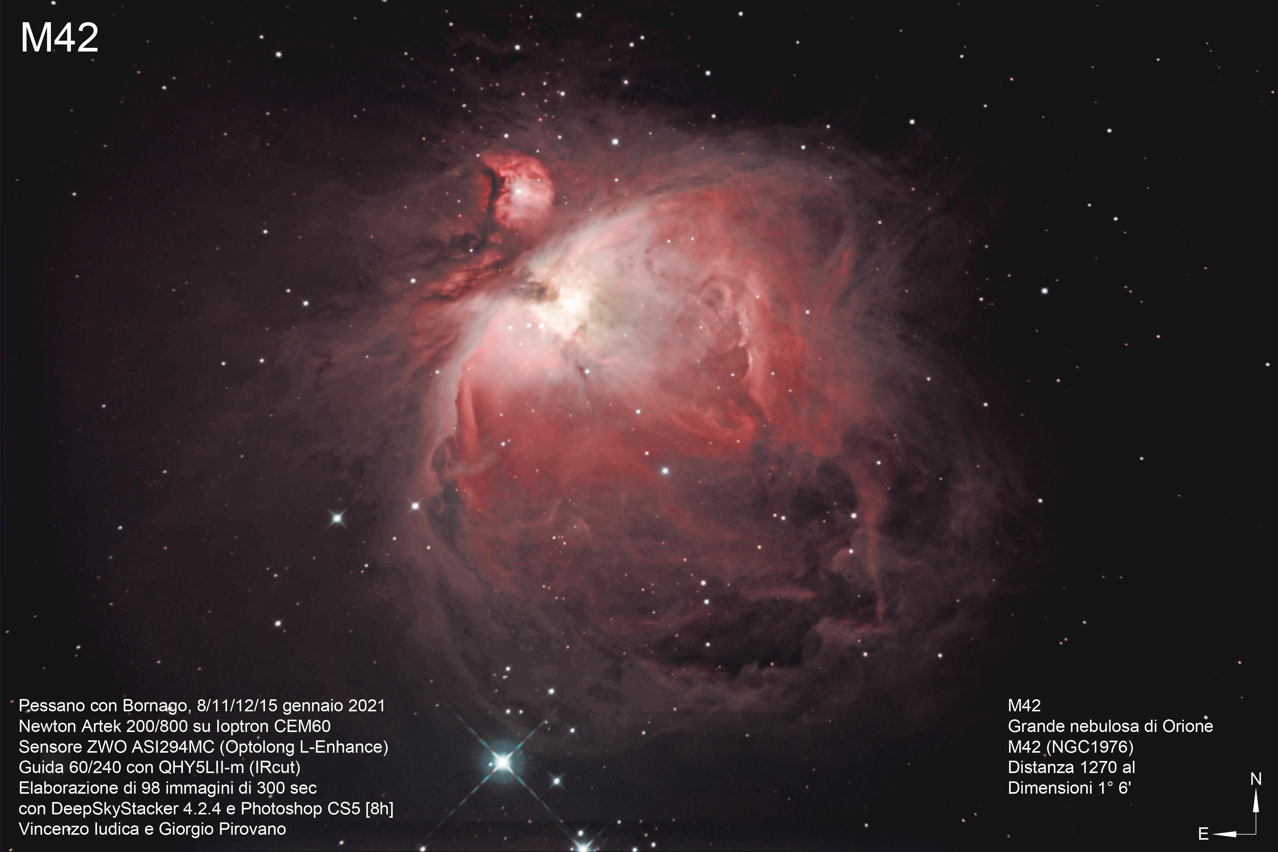 <p>Regione H II, nebulosa ad emissione/riflessione nella costellazione di Orione.</p>